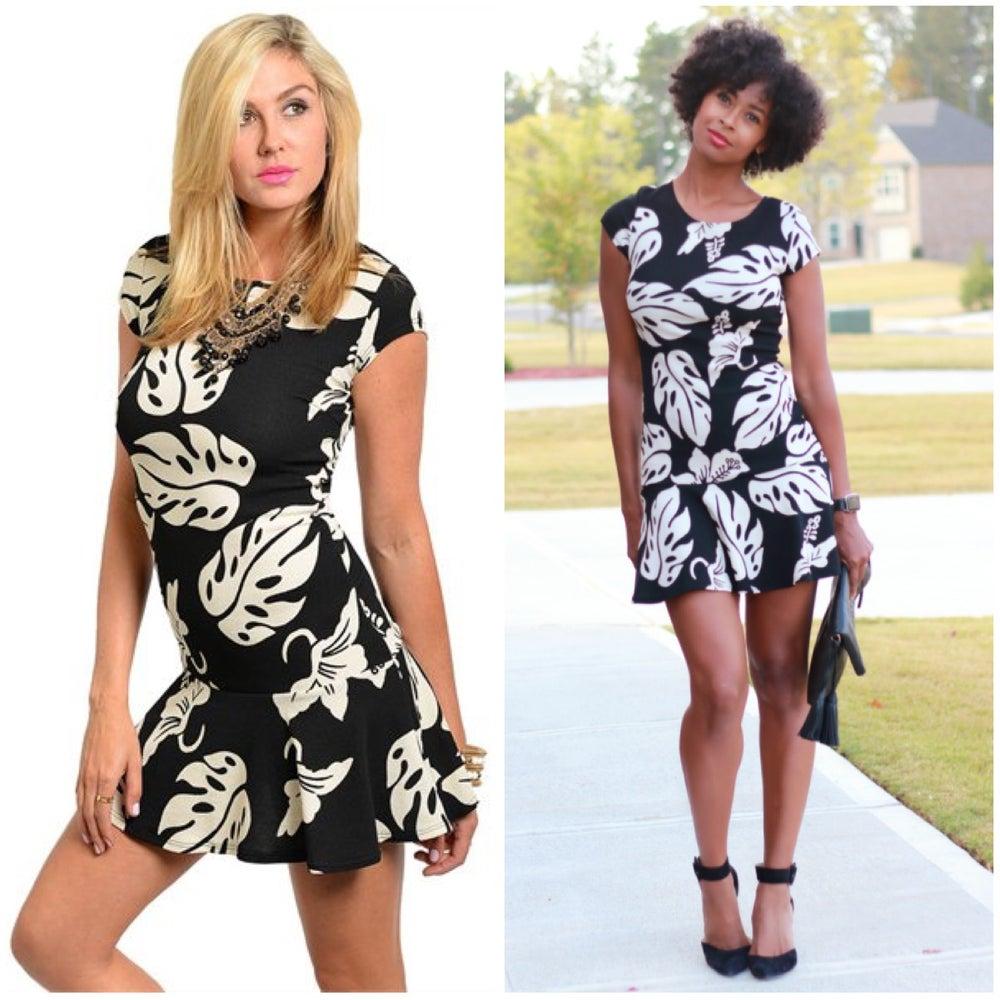 Image of Black + Beige Leaf Print Dress