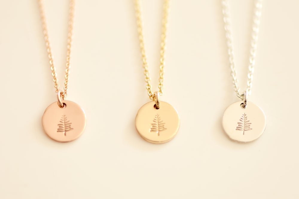 Image of Tiny EverGreen Tree Necklace / Small Disc Pendant Necklace / Gold, Silver, or Rose