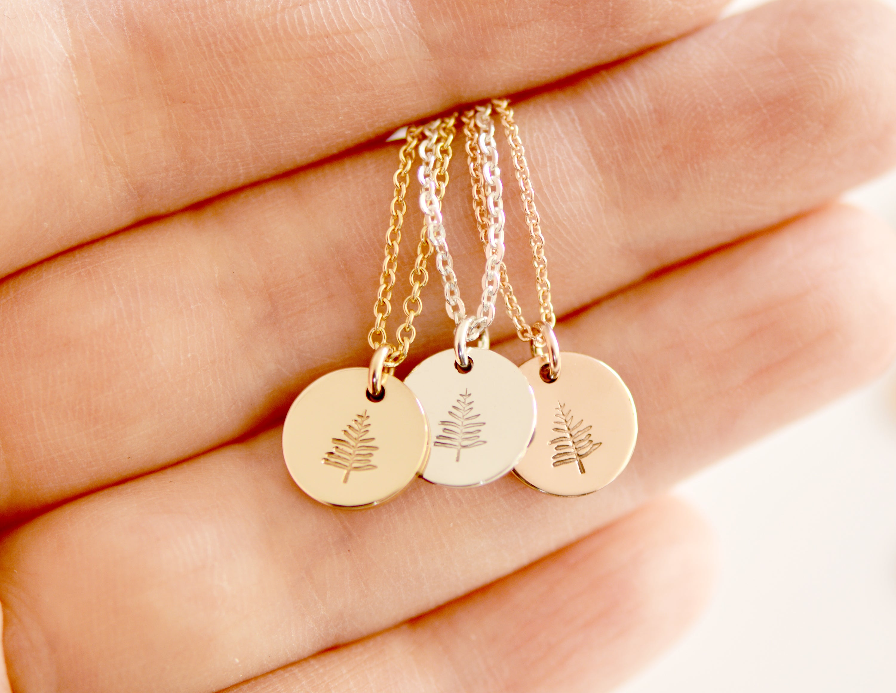 tiny evergreen tree necklace small disc pendant necklace