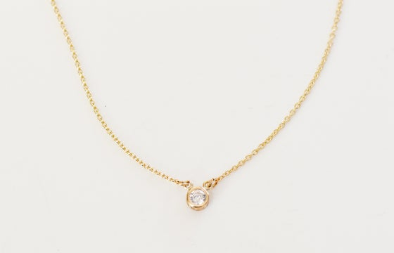 Image of 14kt Gold Filled Cubic Zirconia Solitaire Necklace