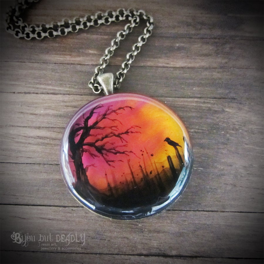 Image of Autumn Sunset Painted Round Pendant