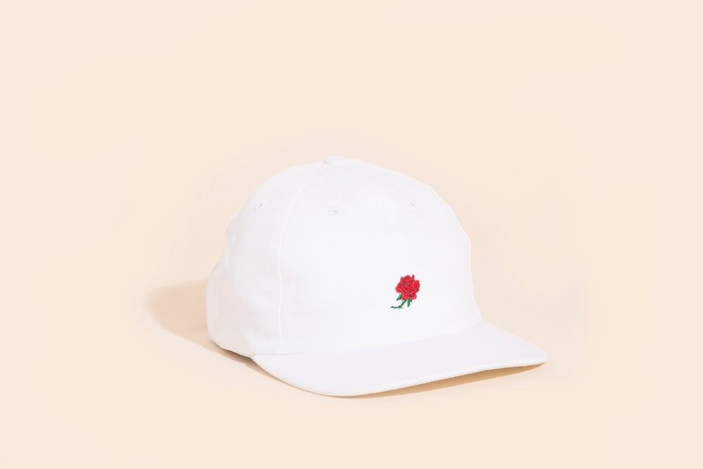 Image of Ball Cap - White Canvas - Rose