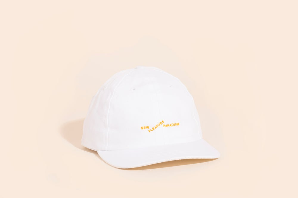 Image of Ball Cap - White Canvas Gold Embroidery - New Pleasure Paradigm
