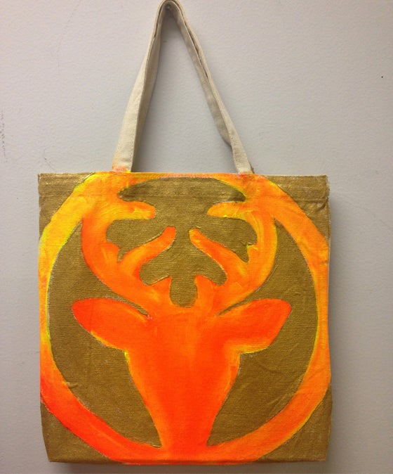 Image of Hand Painted Deer Tote