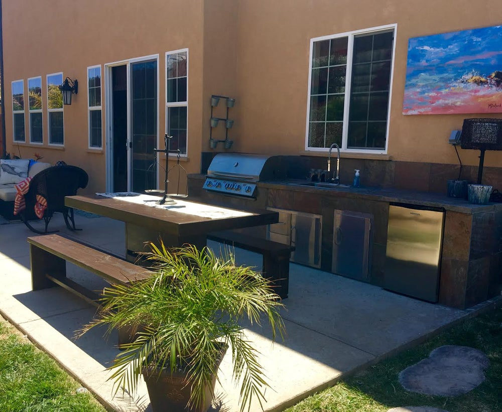 Image of 14' PATIO SET / OUTDOOR DINING TABLE WITH BENCHES