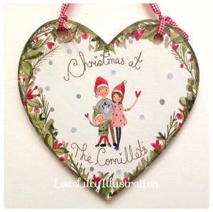 Image of Personalised Christmas Family Heart Decoration