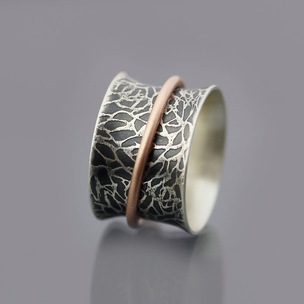 Image of Spinner Ring, sterling silver and 14k rose gold