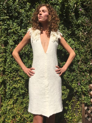 Image of Cocoon Dress with shag collar