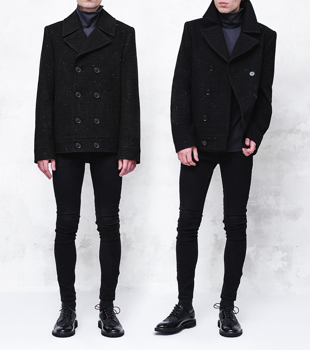 Image of LORCAN | Black Dot Wool Pea Coat