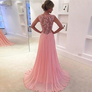 Image of Pink Chiffon Illusion V Neck Prom Gown With Lace Sexy Back