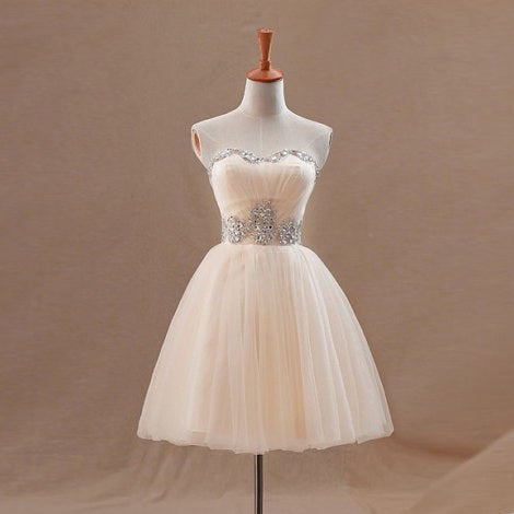 Image of Champagne Tulle Strapless Short Party Dress