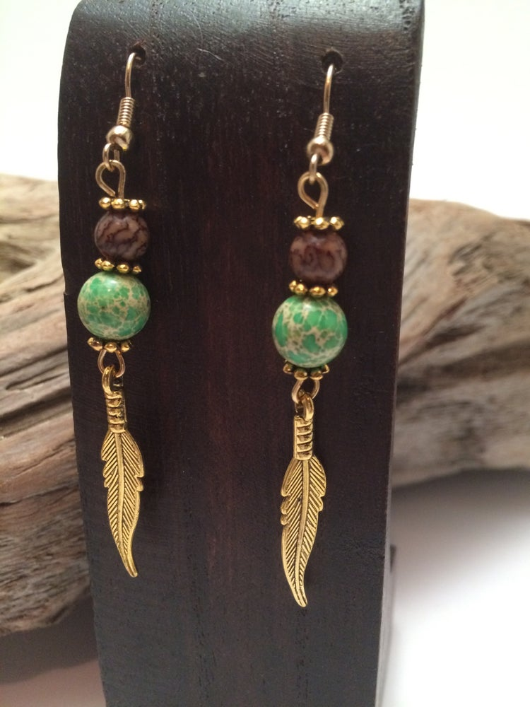 Image of Yoga Gypsy Creations ~ feather charm earrings
