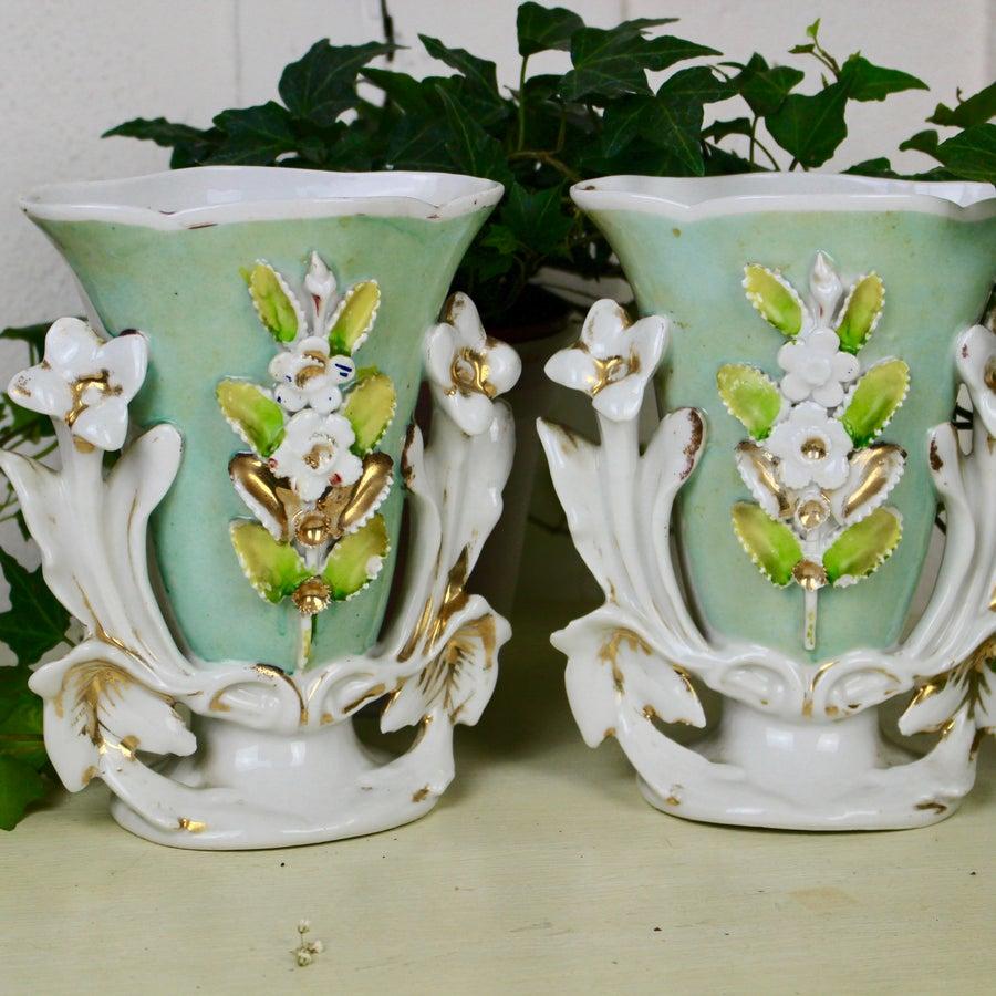 Image of Paire de Vases de Mariée en Porcelaine de Paris Vert Tendre
