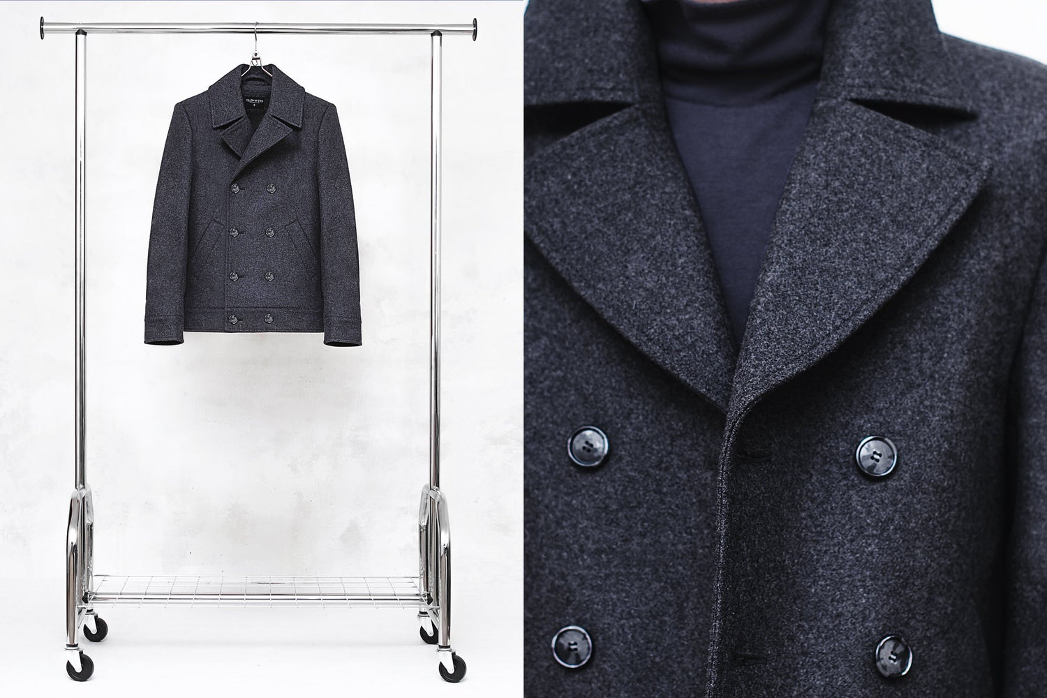 Image of LORCAN | Dark Gray Wool Pea Coat