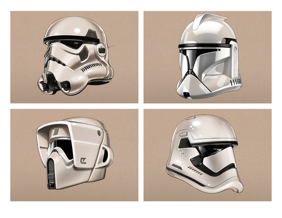 "Image of Stormtrooper Helmets -  8 1/2"" x 11"" OPEN EDITION COLLECTIBLE Giclée PRINTS"