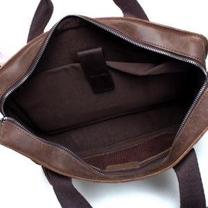 "Image of Vintage Handmade Crazy Horse Leather Briefcase / Satchel / 11"" 13"" MacBook 12"" 13"" Laptop Bag (n07)"