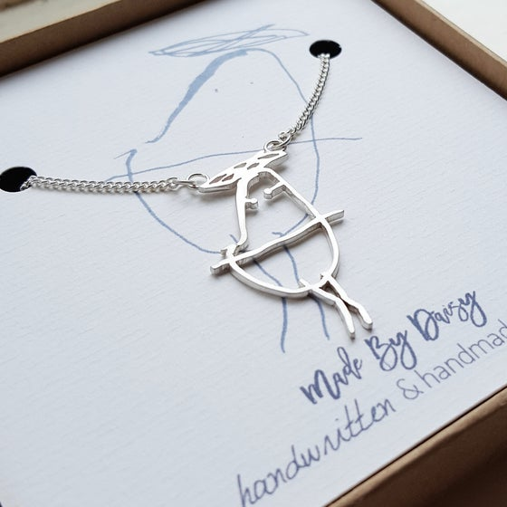 Image of Personalised Silver Necklace Using Your Childs Drawing