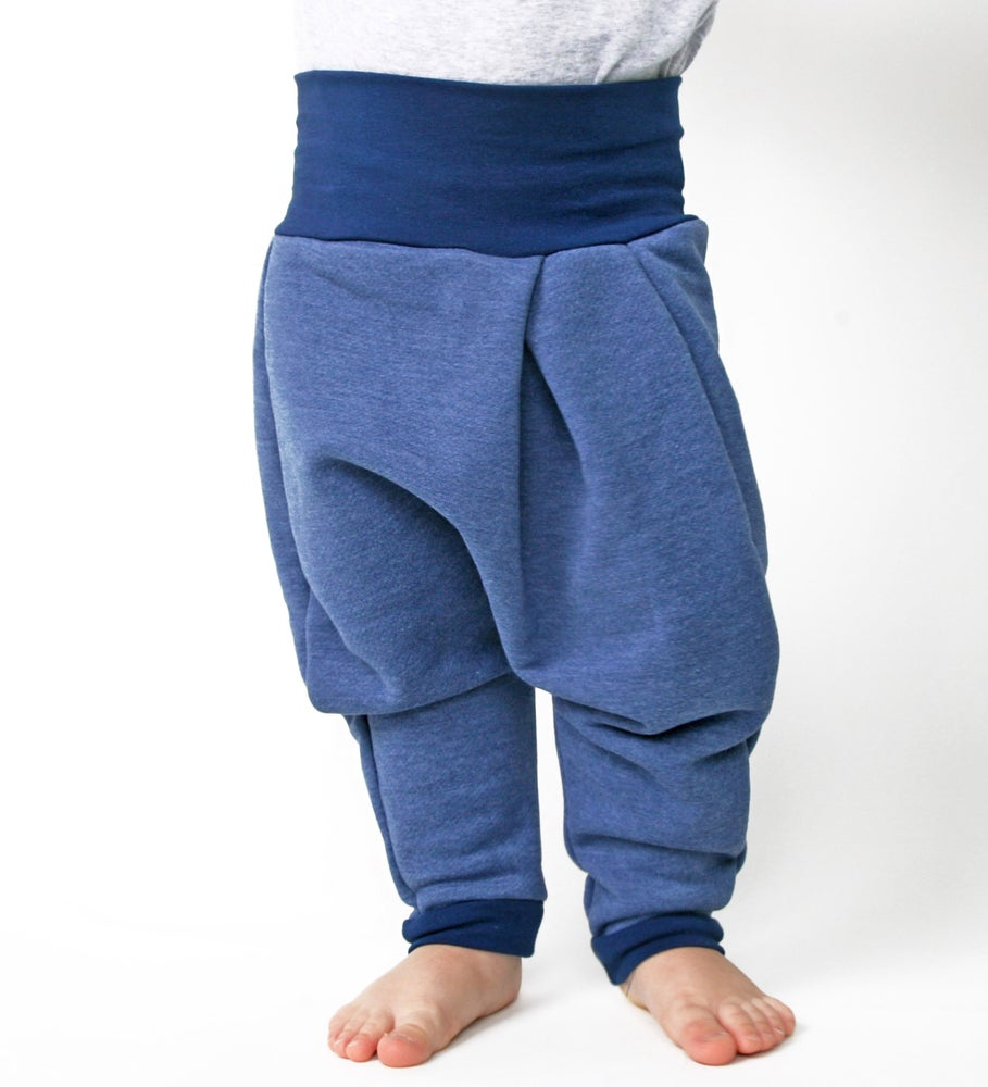 Image of Baby Superhose blau meliert