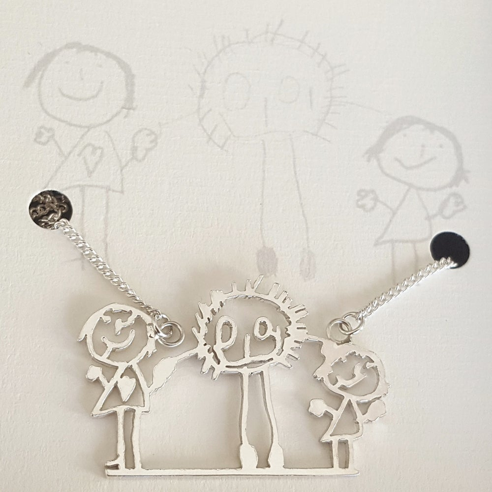 Image of Childrens Drawing Family Portrait Necklace in Sterling Silver