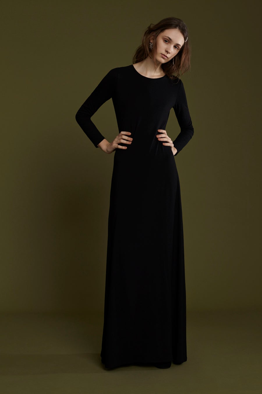 Image of FRAMPESCA CLASSIC WOOL BLACK DRESS