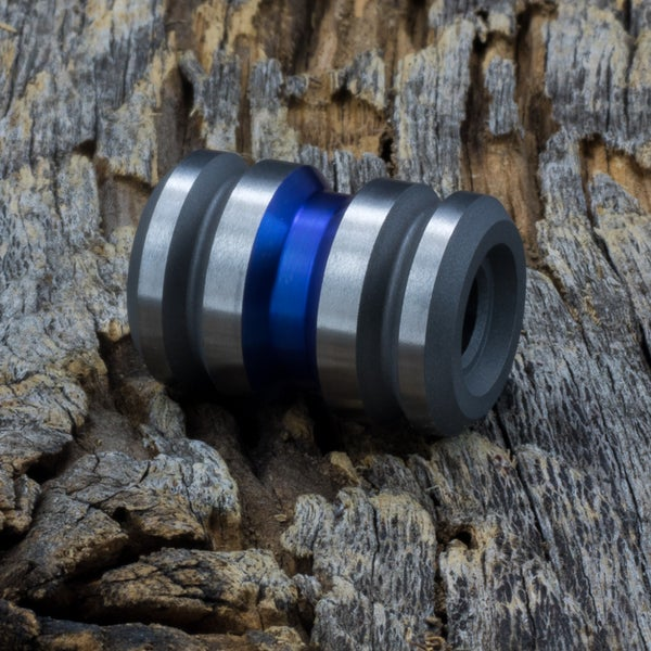 Image of Tank Thin Blue Line (bright blue finish) Ti Bead