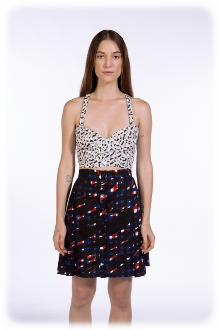 Image of Pleated Snap Front Skirt - Splashed Check