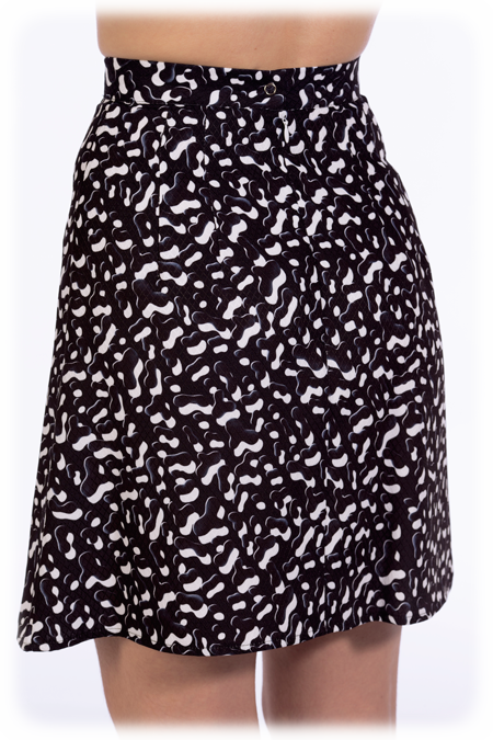Image of Pleated A-Line Skirt - Black Dabs