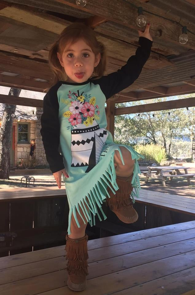 Image of Wild and Free Mint Green Boho Raglan Fringe Dress, Native American baby, toddler, girl, fall