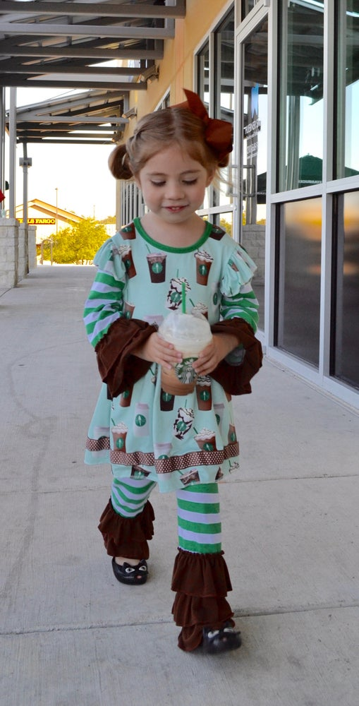 Image of Starbucks inspired ruffled pant set, baby, toddler, girl, photos, sisters