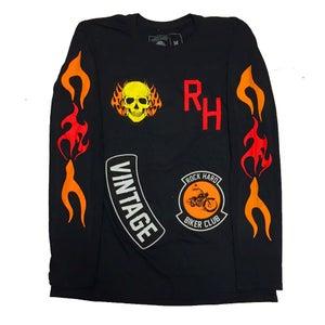 """Image of Rock Hard Vintage """"Biker"""" Long Sleeve Tee """"Black"""""""