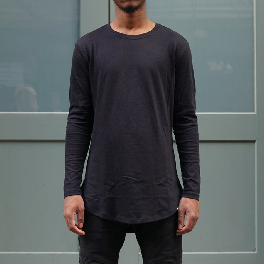 Image of Black Long Sleeve Scoop Tee