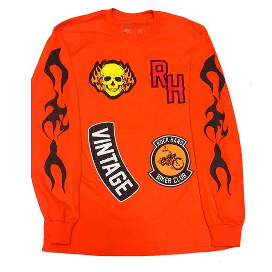 """Image of Rock Hard Vintage """"Biker"""" Long Sleeve Tee """"Orange"""""""