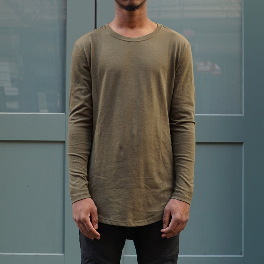 Image of Olive Long Sleeve Scoop Tee