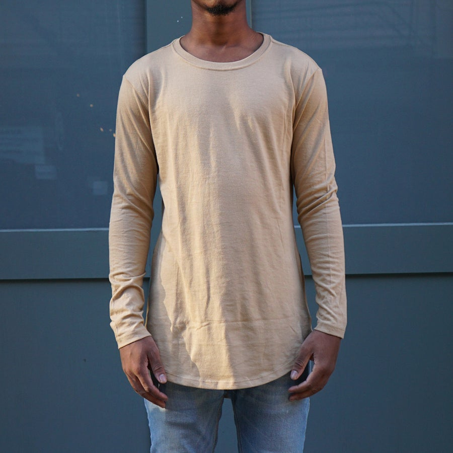 Image of Beige Long Sleeve Scoop Tee