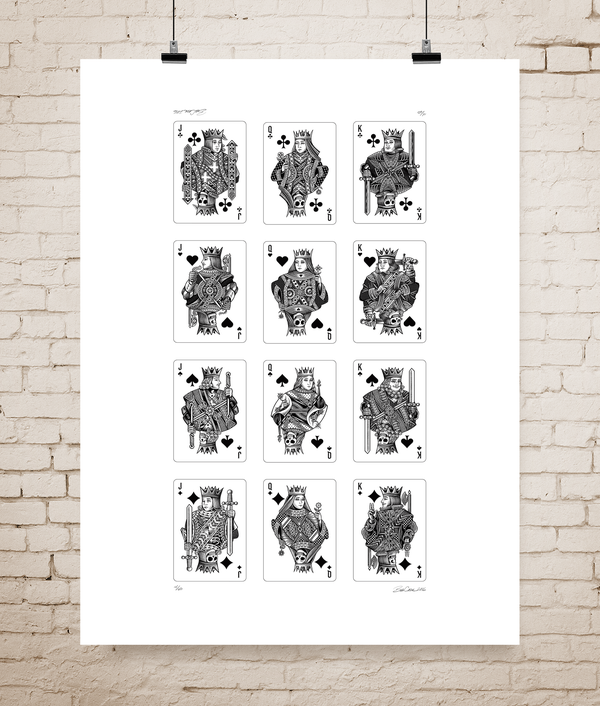 Image of Moirai playing card letterpress poster