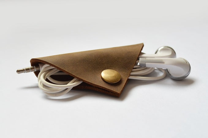 Image of Handmade Genuine Natural Leather Earphone Holder, Earphone Organizer, Cable Keeper D08
