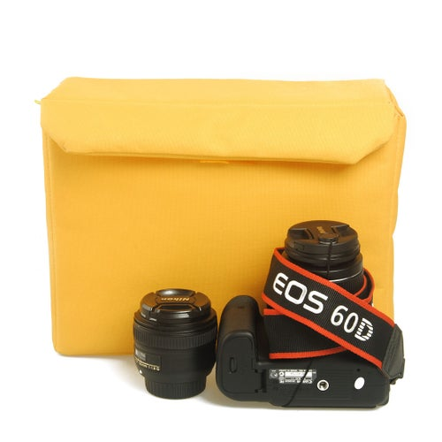 Image of 407 Camera Insert Bag can fit one camera body with attached lens and one extra lens