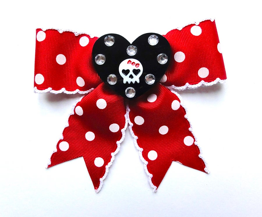 Image of Insane Cutie Skull and Glitter Heart XL Dot Bow - Red