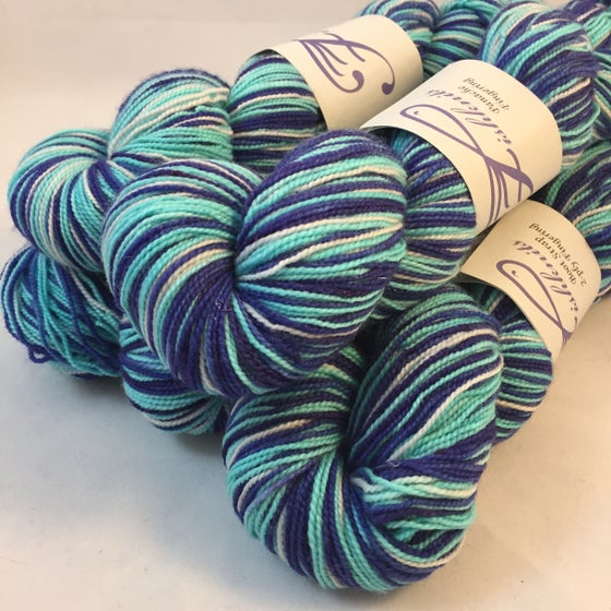 Image of Wild Blue Yonder: Superwash Strong Heart, Boot Strap BFL, or sparkly Panache Self Striping Sock Yarn