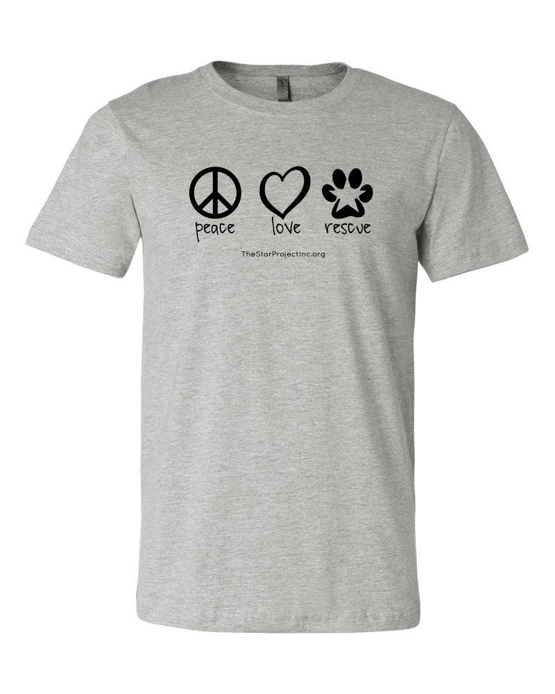 Image of Peace, Love, Rescue - Gray