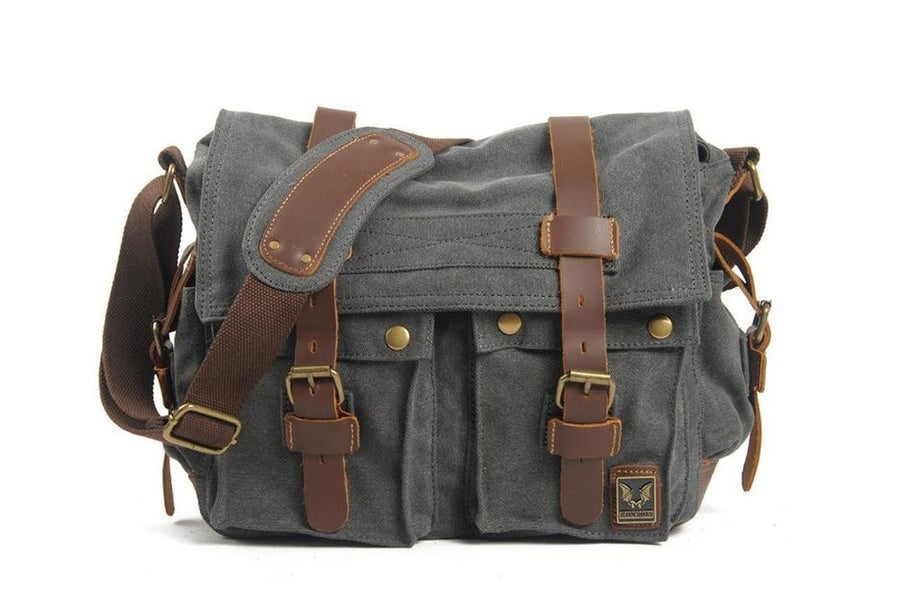 Image of Canvas Leather Messenger Bag Crossbody Bag Shoulder Bag Laptop Bag 2138K