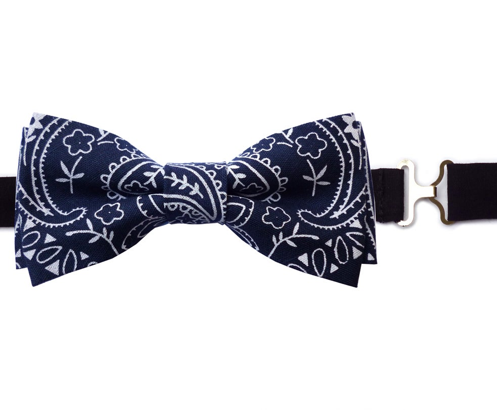 Image of Navy Bandana Bow tie
