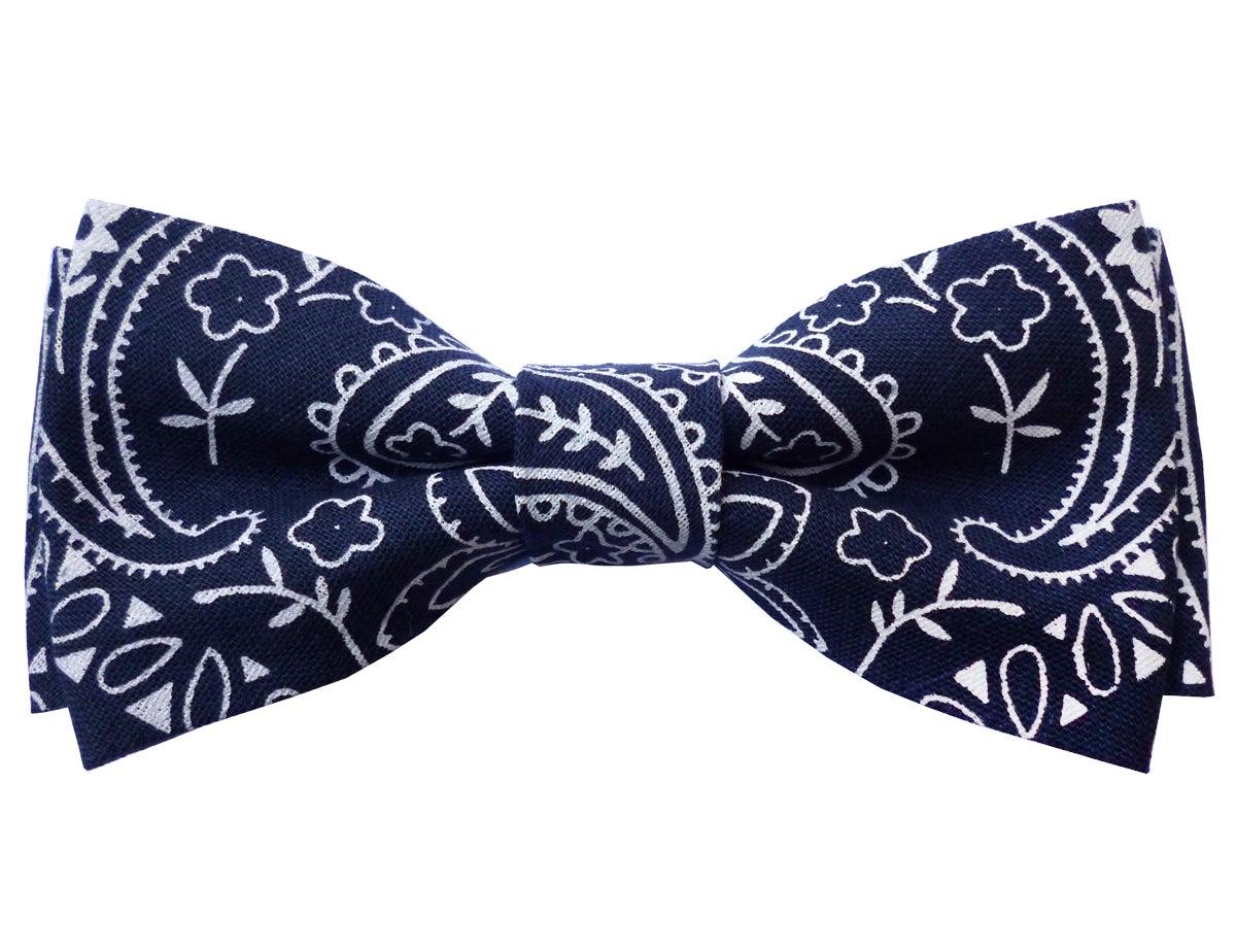 navy bandana bow tie laurent desgrange