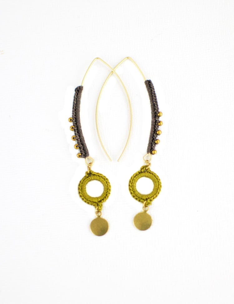 Image of Fern Earrings (Shiitake Gray/Ochre)