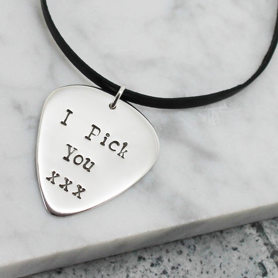 Image of Guitar Pick Sterling Silver Necklace - Personalised