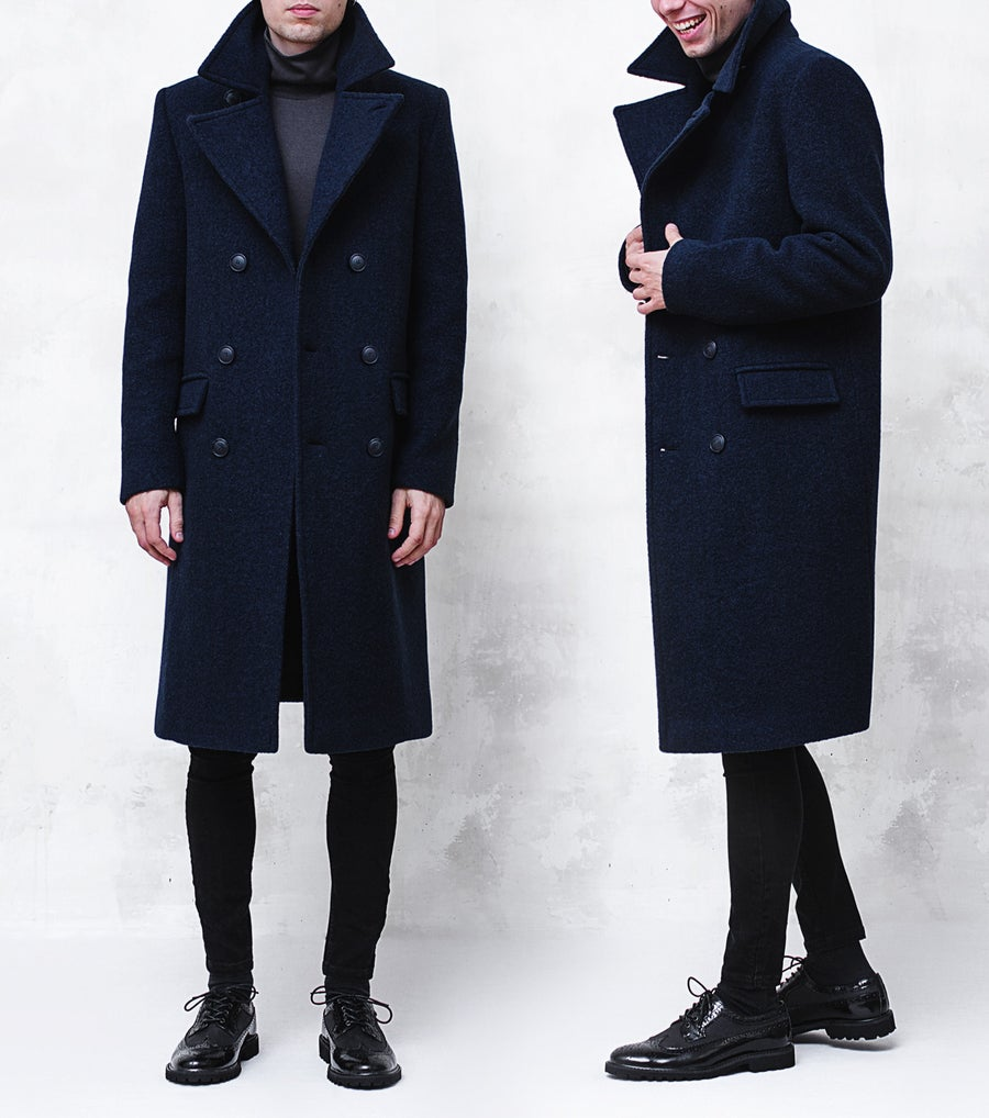 Image of LIMITED EDITION | Dark Navy Wool-Blend Bouclé Overcoat