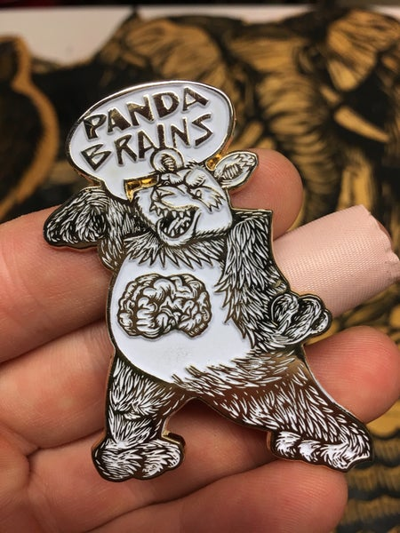 Image of Undead Panda Glow-in-the-dark Variant Enamel Pin + Free Sticker