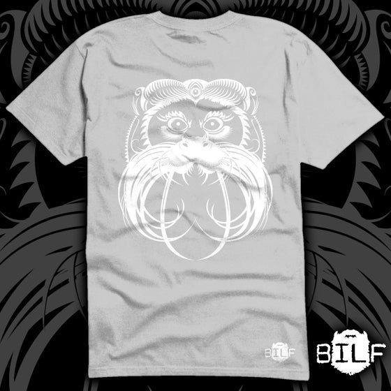Image of 'Dave-Hercule the moustached monkey' white print on a super soft grey T.Shirt