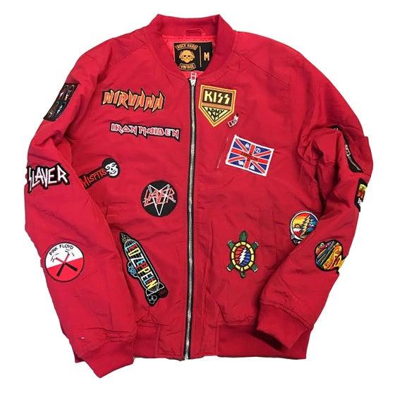 "Image of Rock Hard Vintage ""Hall Of Fame"" Bomber Jacket ""Cherry Red"""