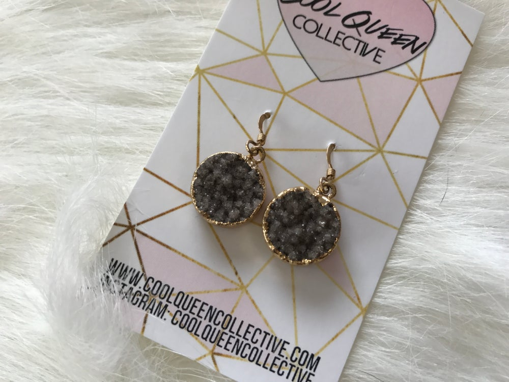 Image of Smoky Round Druzy Dangle Earrings